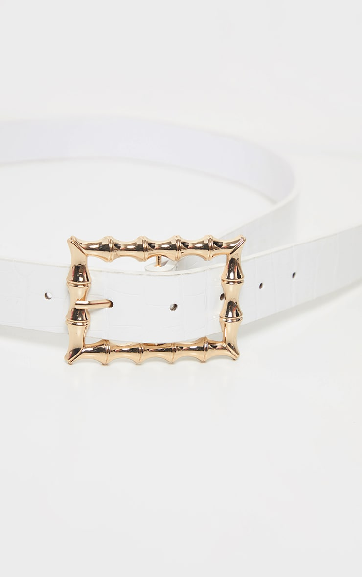 White Square Bamboo Buckle Belt 2