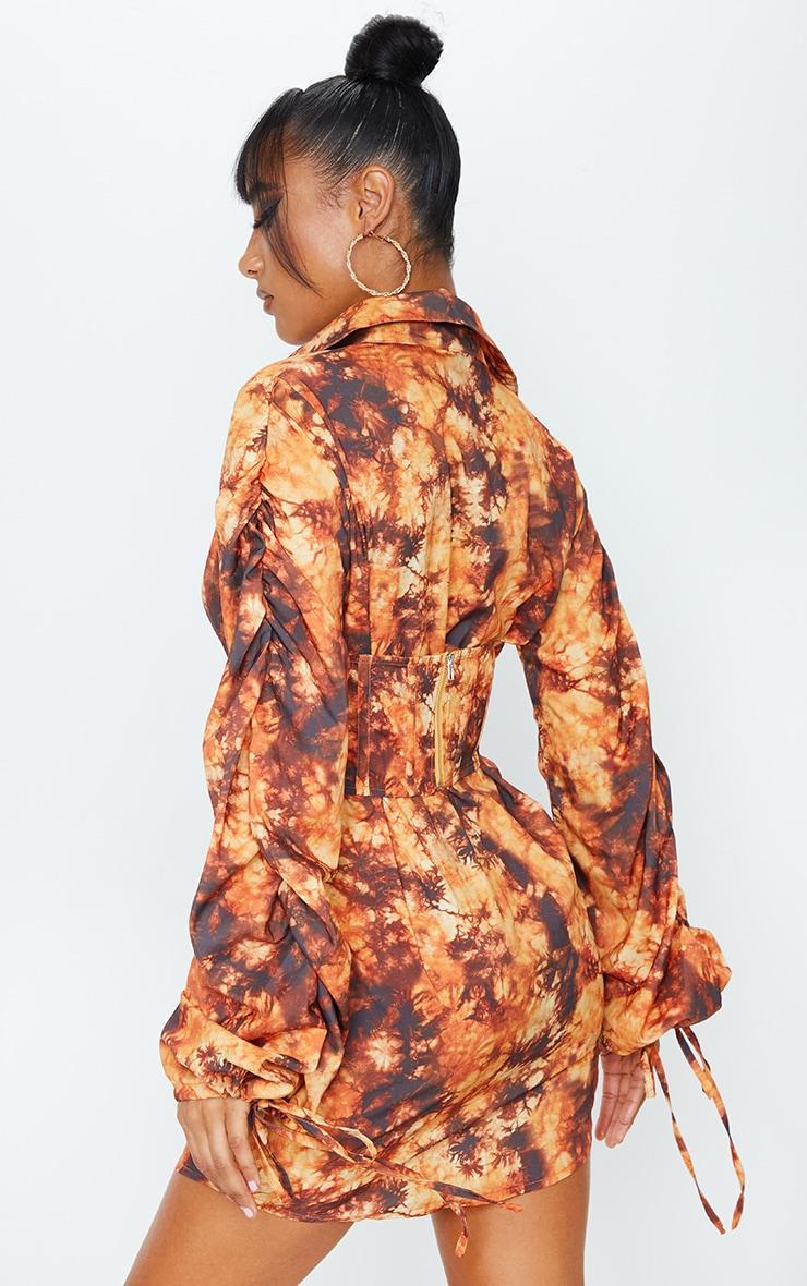 Orange Tie Dye Corset Ruched Sleeve Shirt Dress 2
