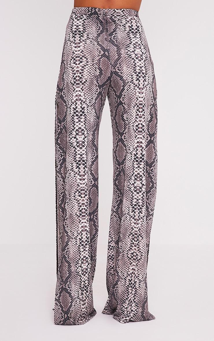 Darsee Taupe Snake Print Side Split Slinky Trousers 5