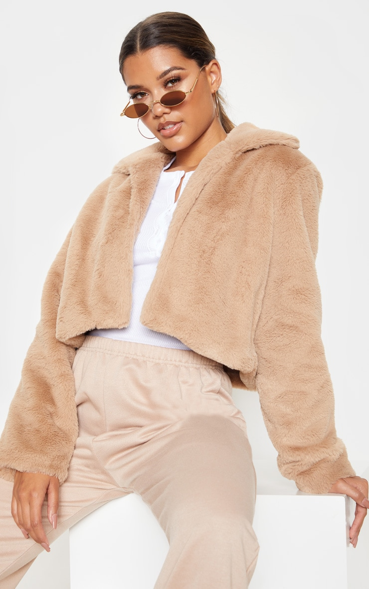 Stone Cropped Faux Fur Coat 1