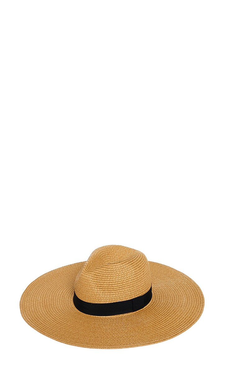 Zinnia Tan Oversized Straw Fedora Hat 3
