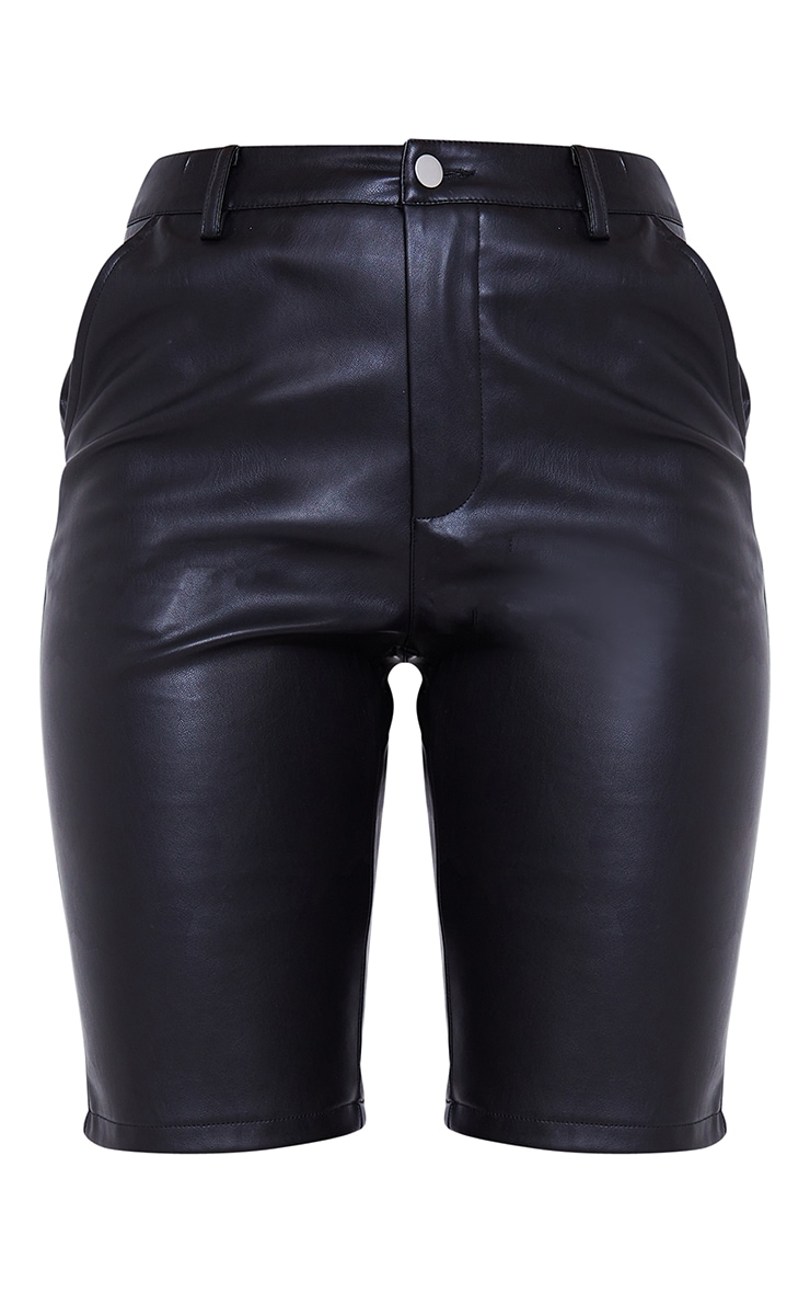 Black Faux Leather Button Up Cycle Shorts 6