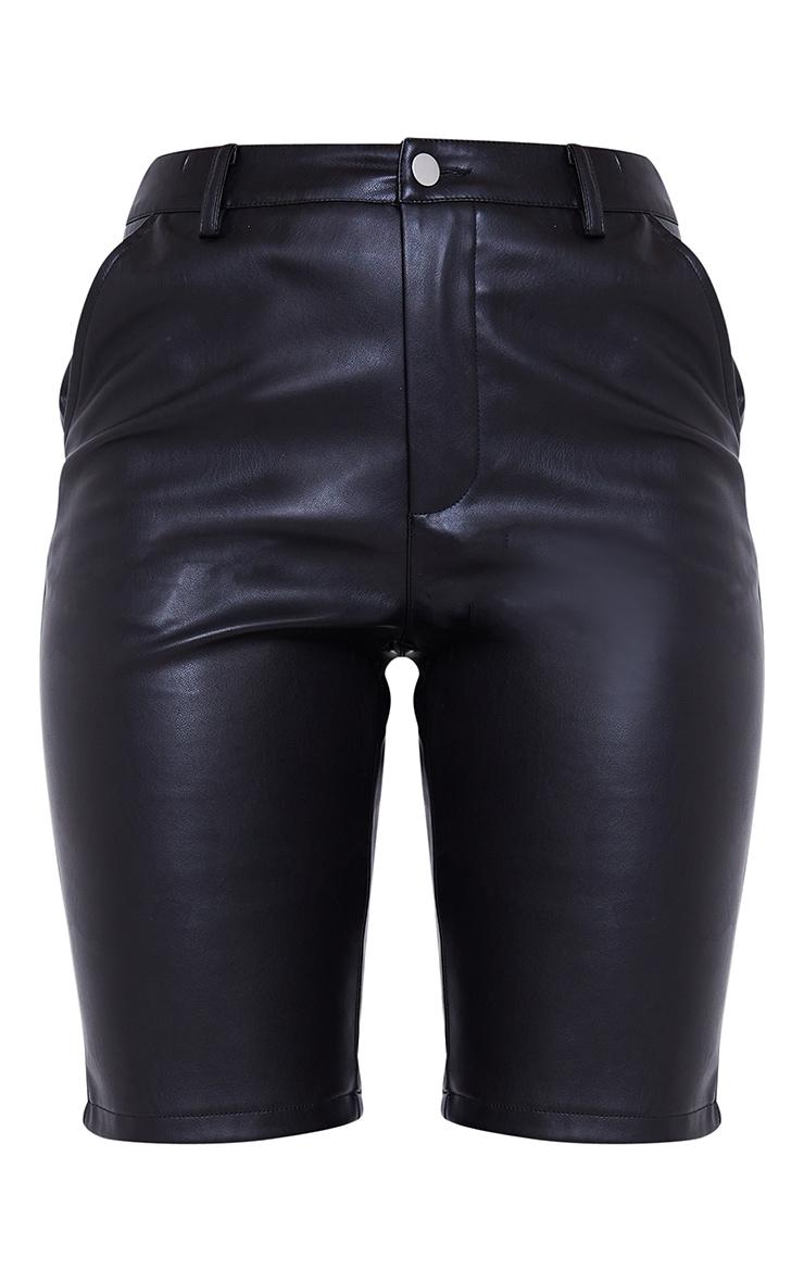 Black Faux Leather Button Up Bike Shorts 6