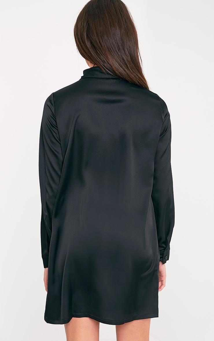 Layla Black Satin Shirt Dress 2