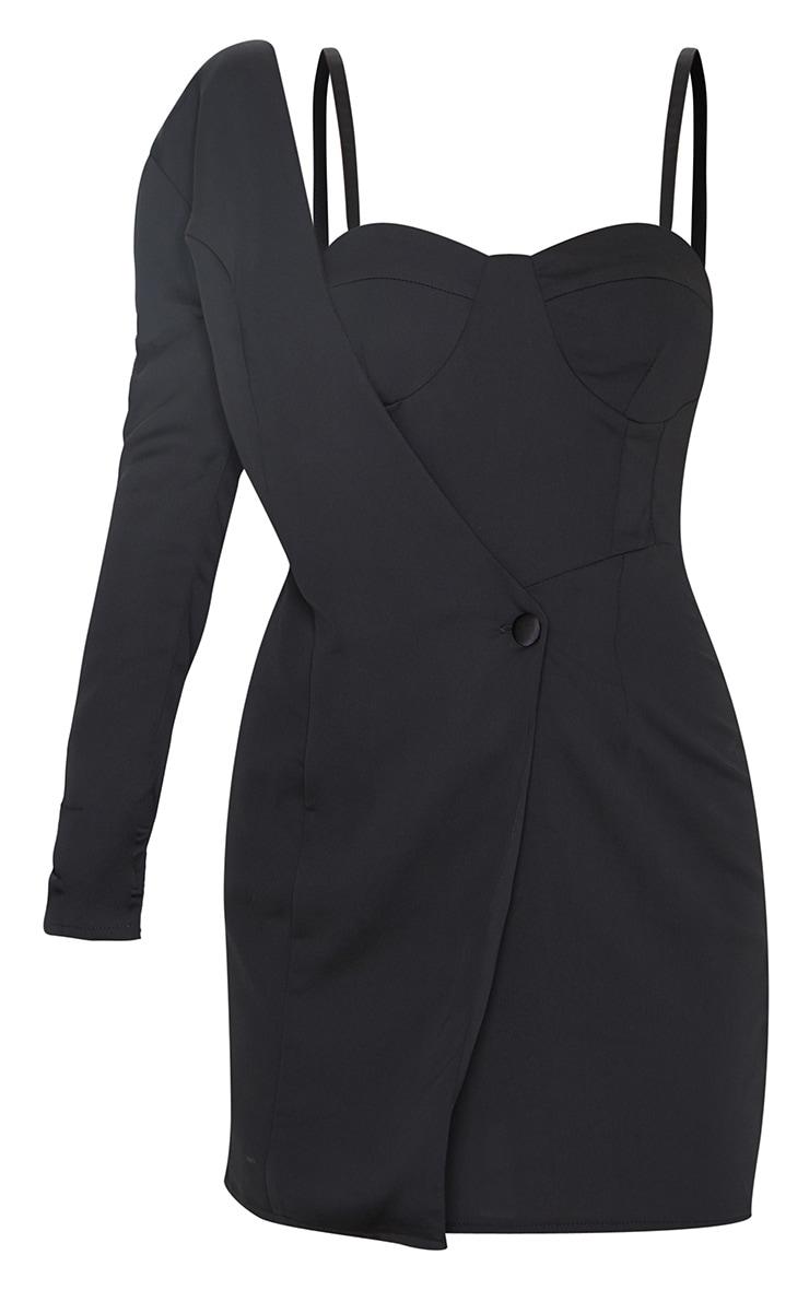 Black Matte Satin One Shoulder Button Detail Bodycon Dress 5