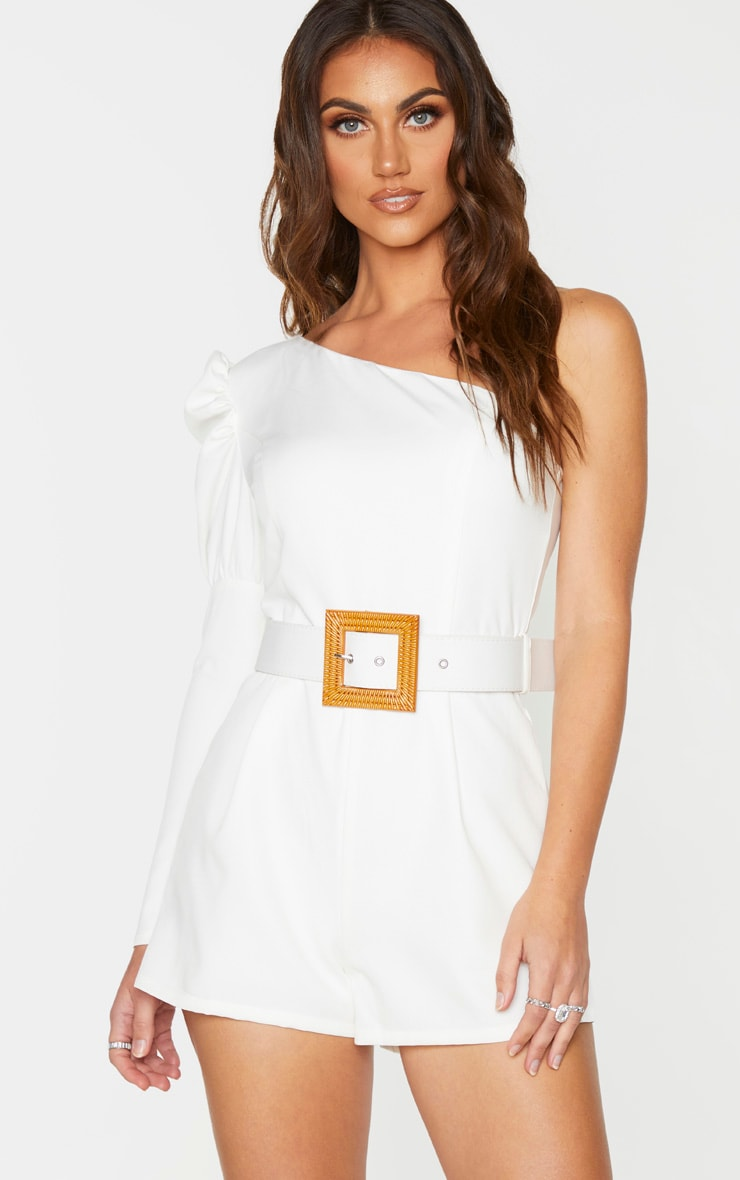 White Puff Sleeve One Shoulder Belted Playsuit 1