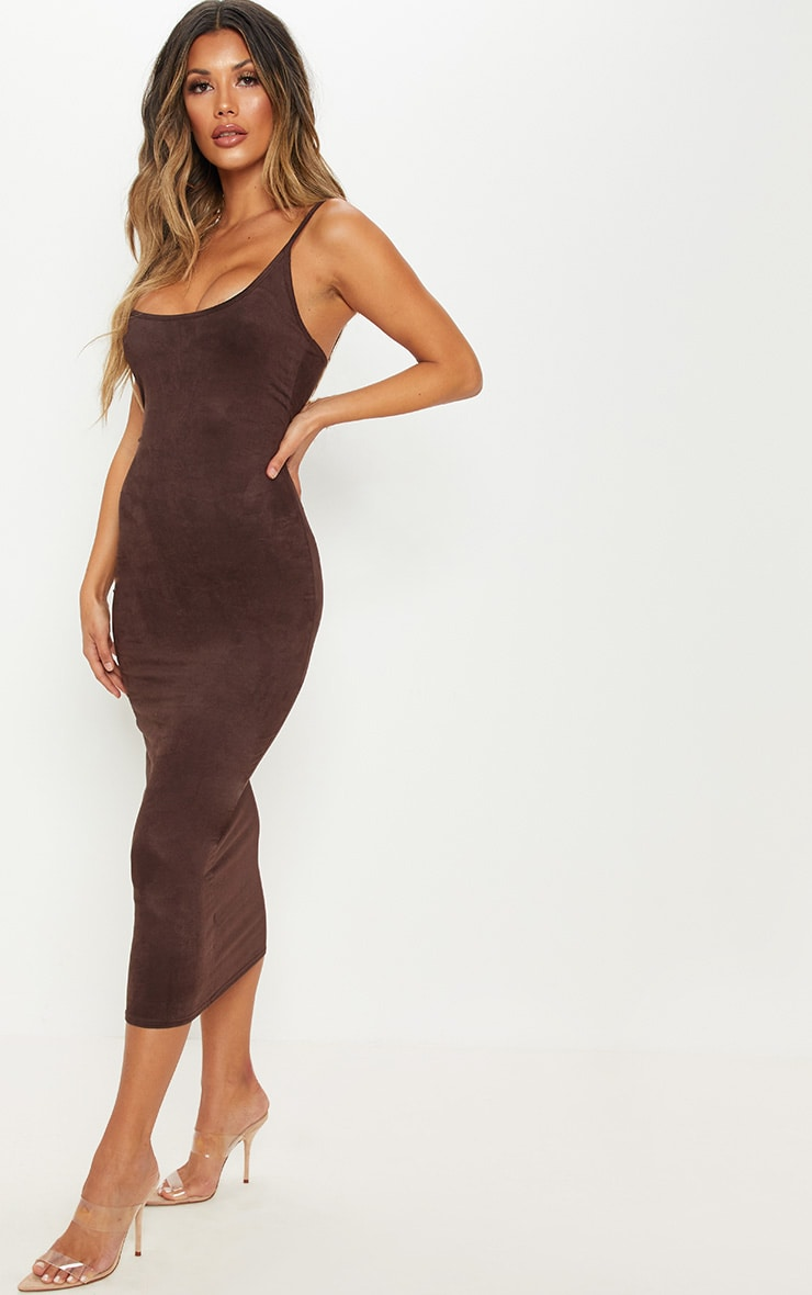 Chocolate Strappy Faux Suede Midi Dress 4