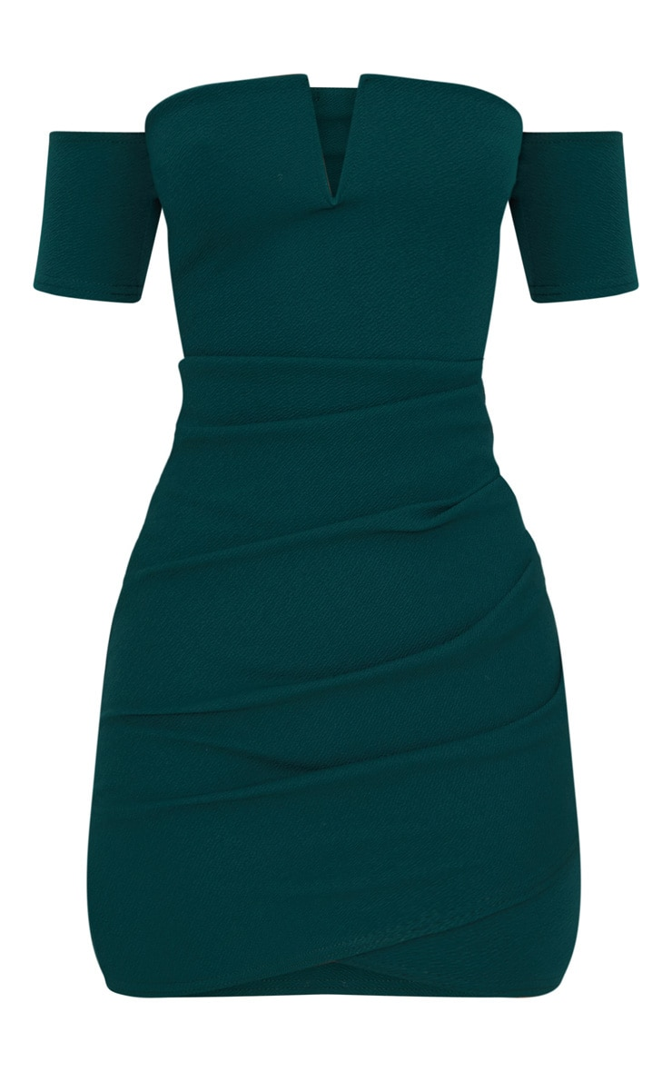 Emerald Green Bardot Wrap Front Bodycon Dress 3