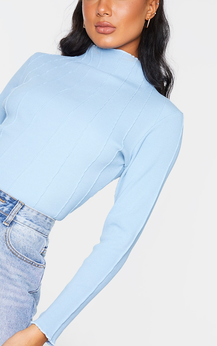 Dusty Blue Rib High Neck Exposed Seam Long Sleeve Top 4