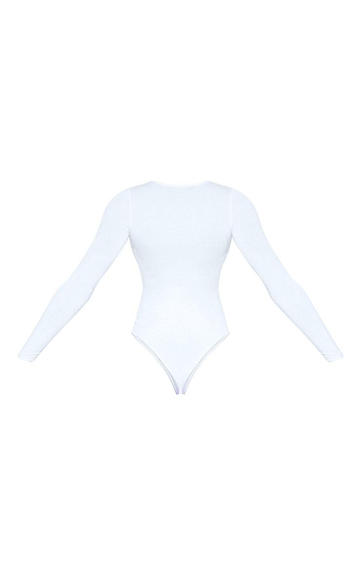 Tall White Basic Crew Neck Long Sleeve Bodysuit 4