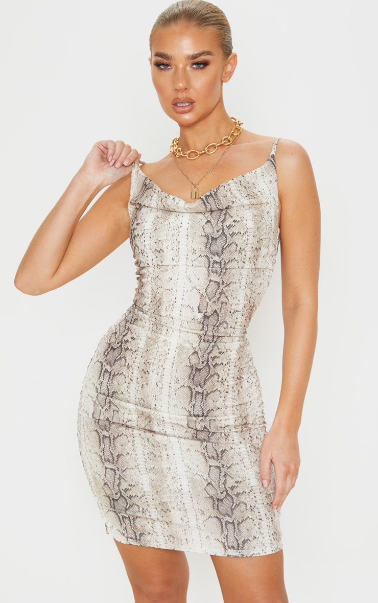 Nude Snake Print Strappy Ruched Bodycon Dress 1