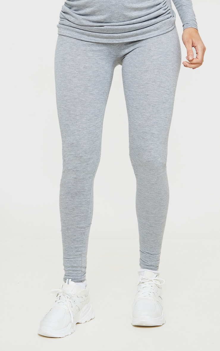 Maternity Grey Jersey Cropped Leggings 2