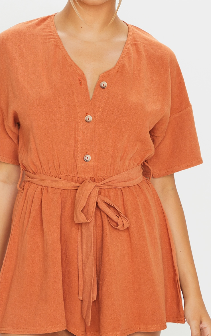 Rust Woven V Neck Short Sleeve Button Up Romper 4