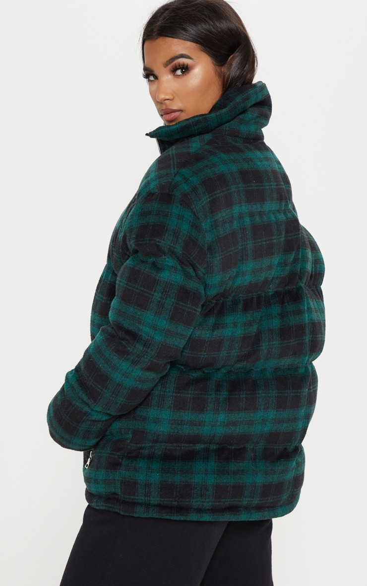 Green Oversized Checked Puffer  2