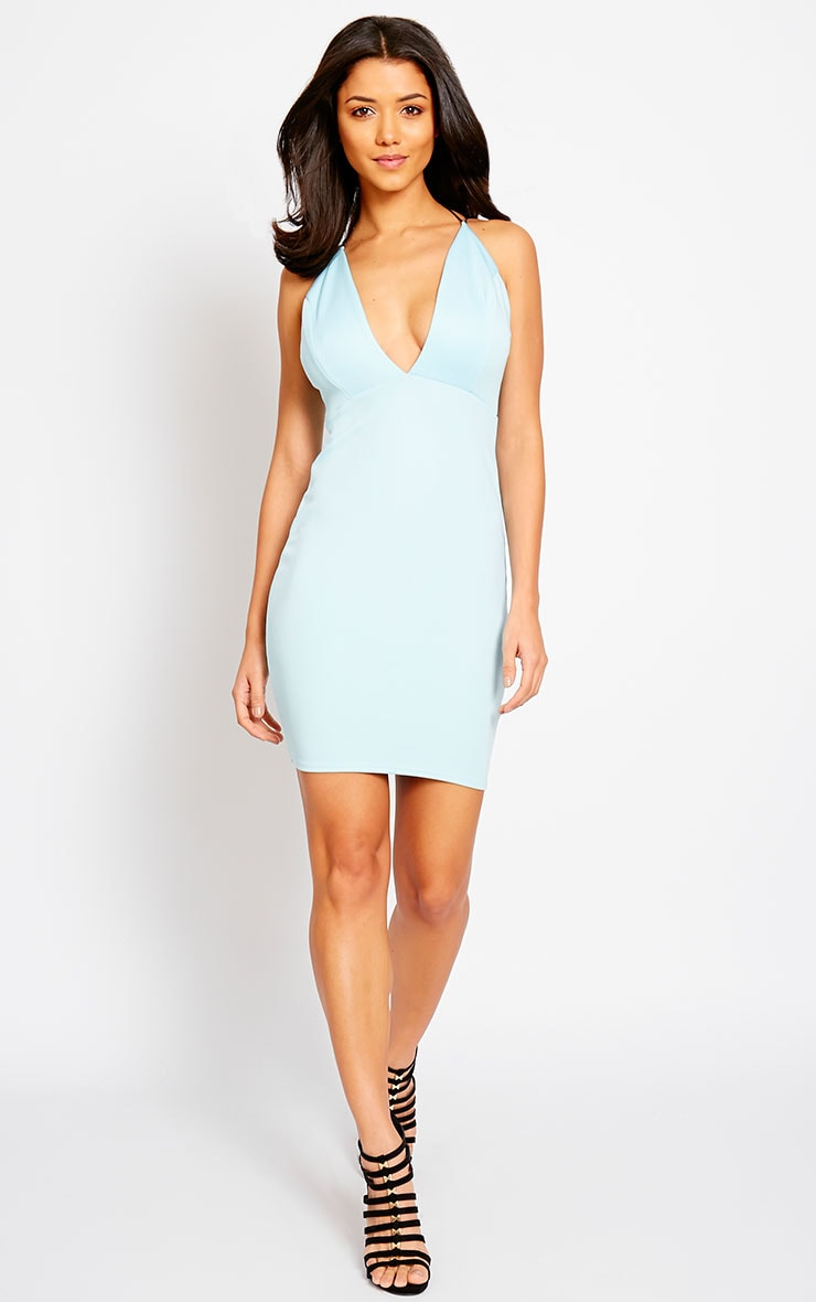 Gisele Powder Blue Plunge Dress 3