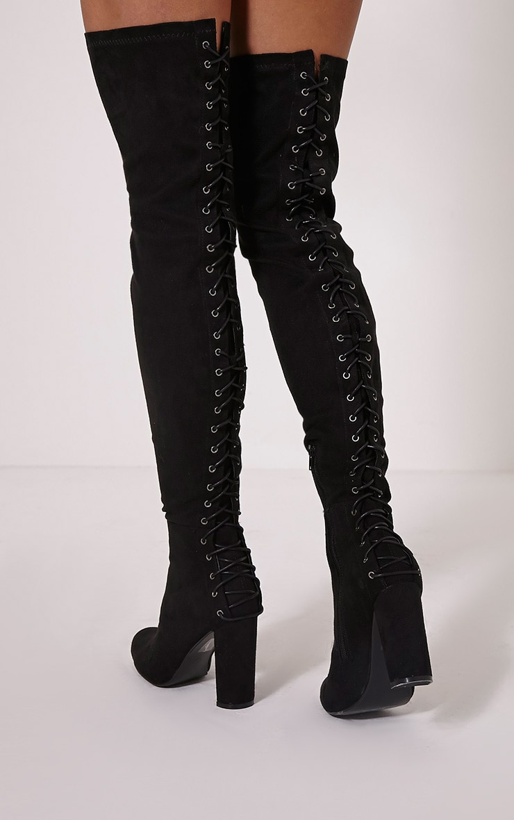 33ad3cb201d Riella Black Faux Suede Lace Up Over The Knee Boots image 1