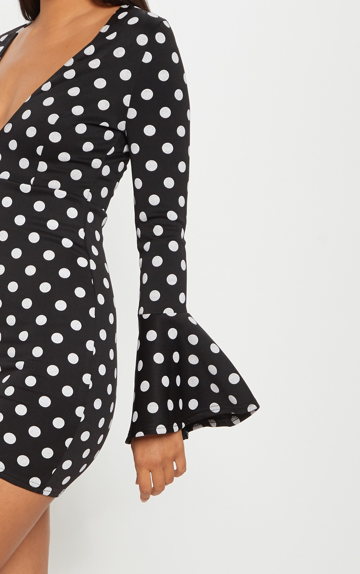 Black Polkadot Plunge Frill Sleeve Bodycon Dress 5