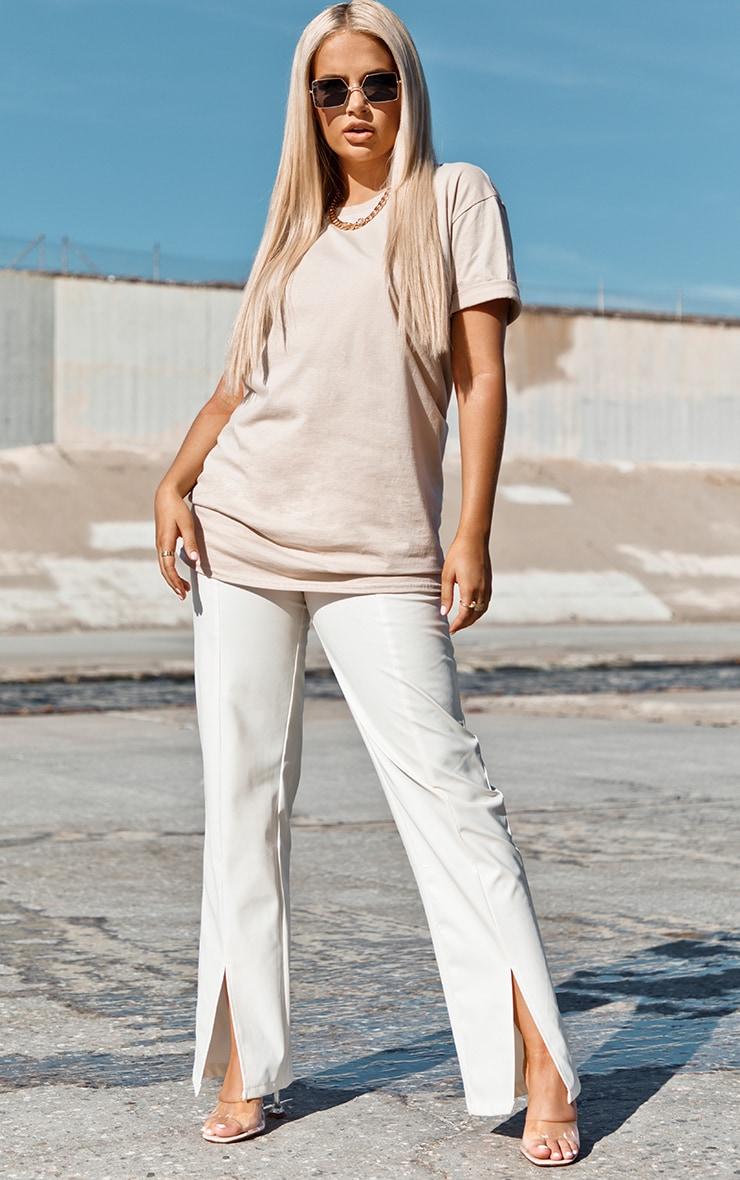 Cream Faux Leather Split Hem Trousers 1