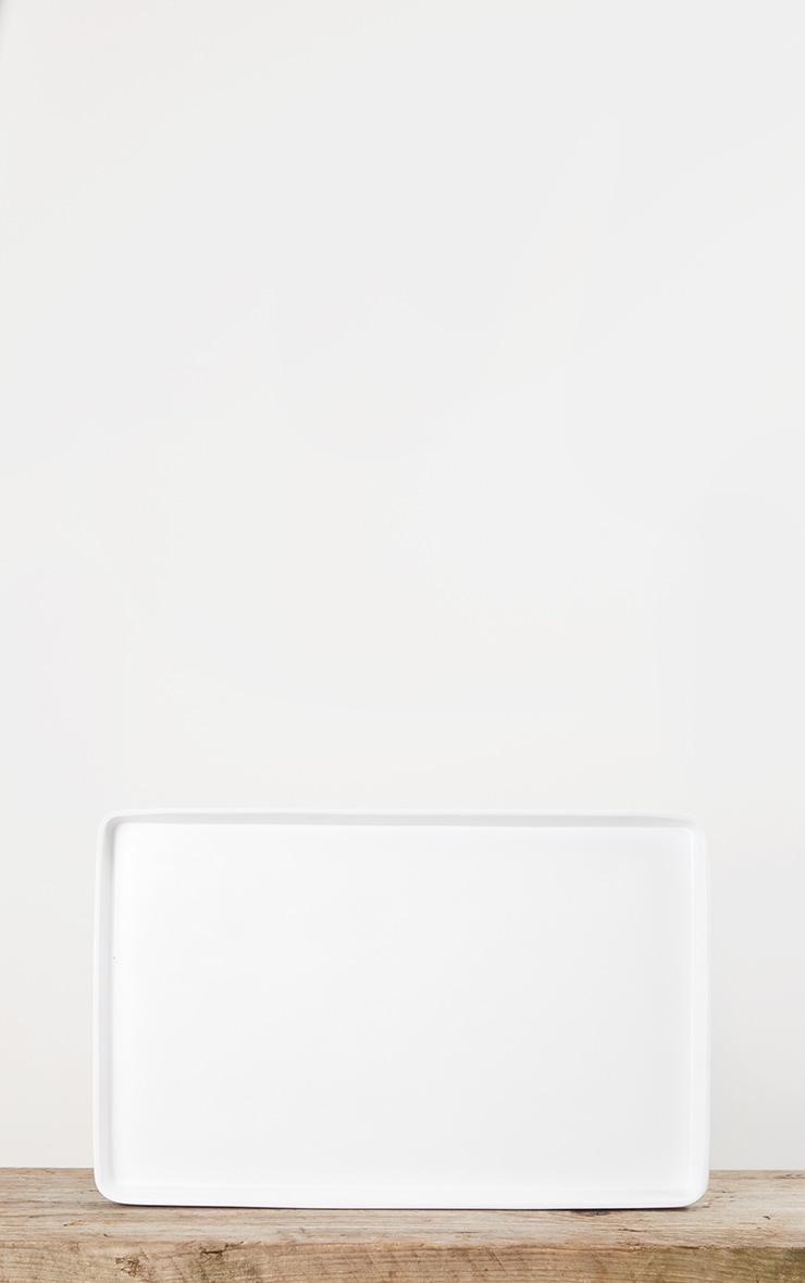 Matte White Decorative Tray Large 4