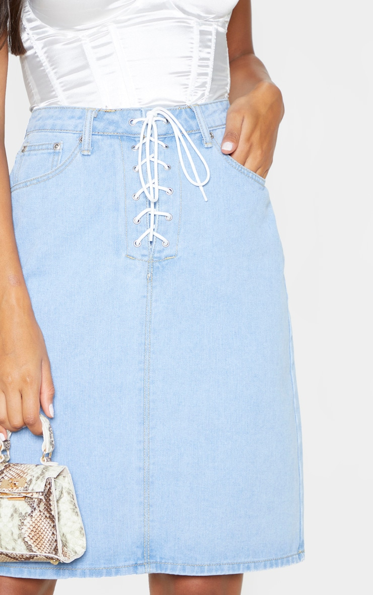 Light Wash Lace Up Front Denim Midi Skirt 5
