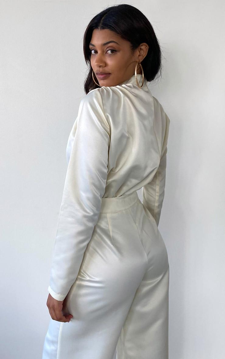 Tall Cream Ruched Shoulder Satin Bodysuit 2
