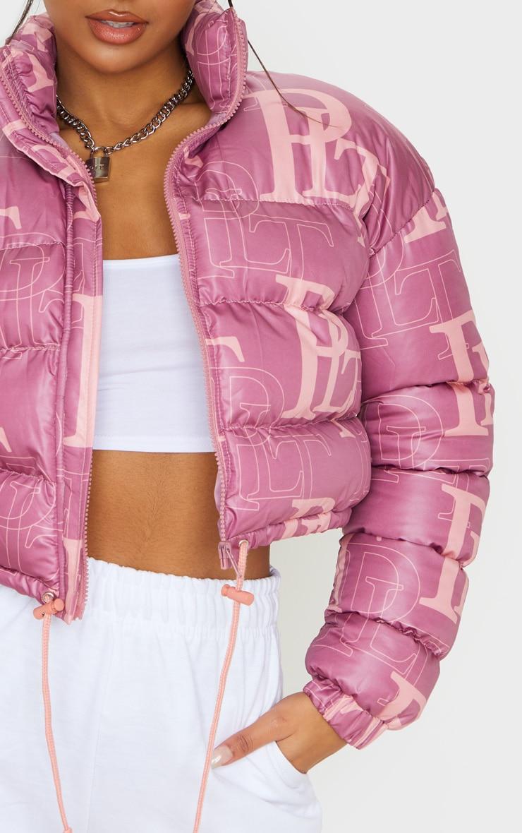 PRETTYLITTLETHING Pink Crop Puffer Jacket 5