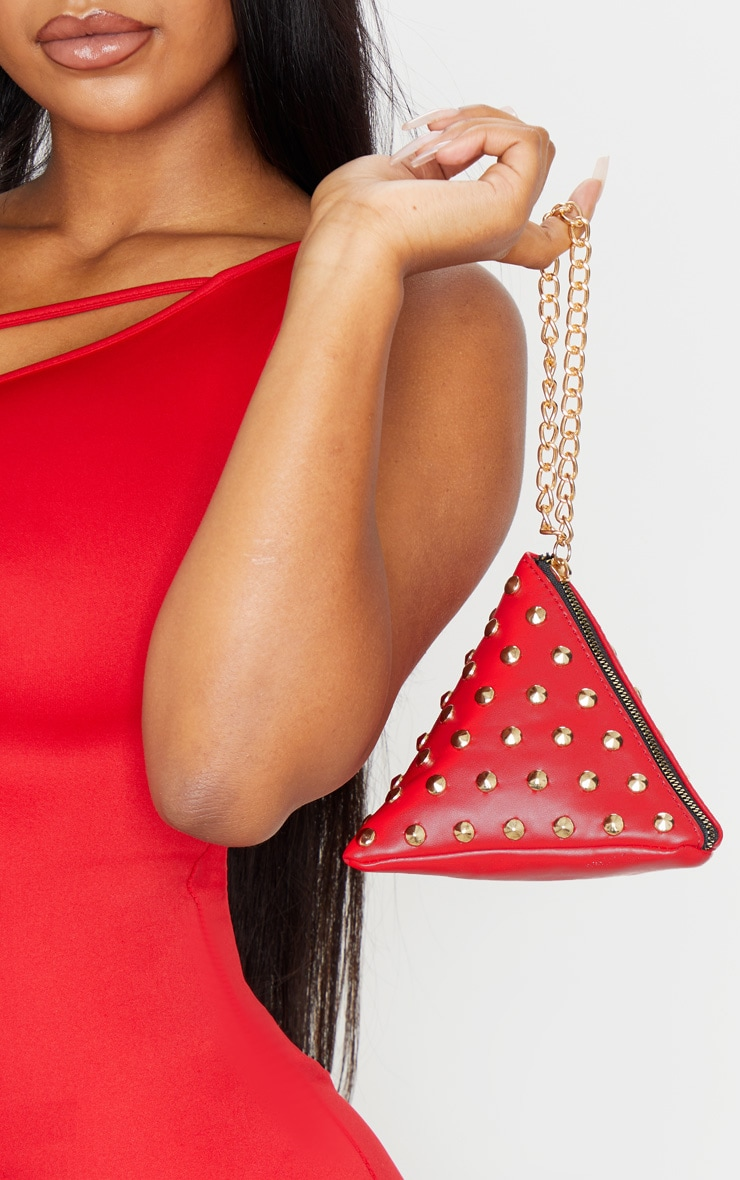 Red PU Studded Pyramid Grab Bag 1