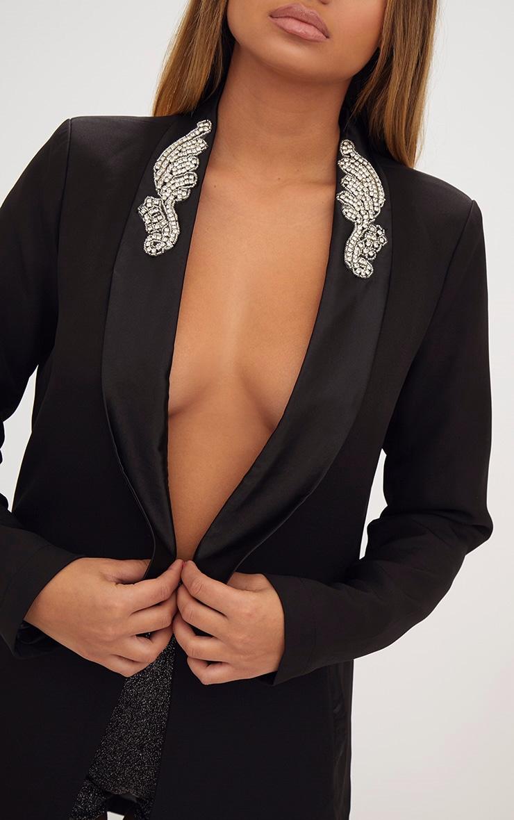 Black Embellished Applique Detail Oversized Blazer 5