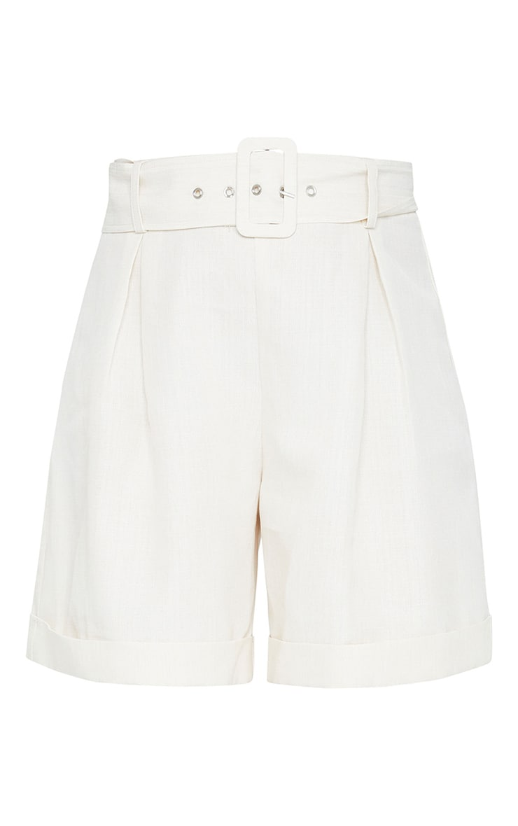White Tailored Belt Detail Shorts 6