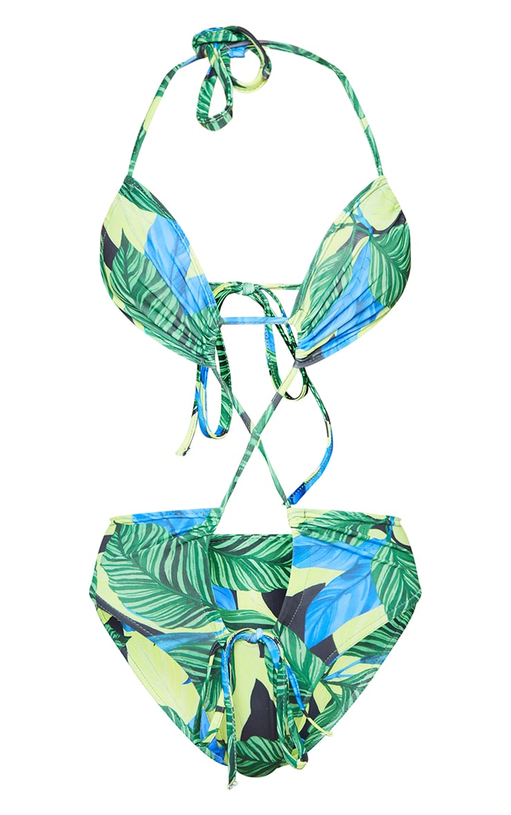 Green Leaf Extreme Cut Out Tie Front Swimsuit 5