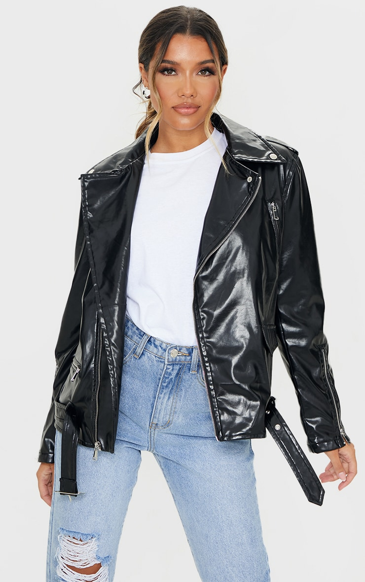 Black Oversized PU Biker Jacket 1