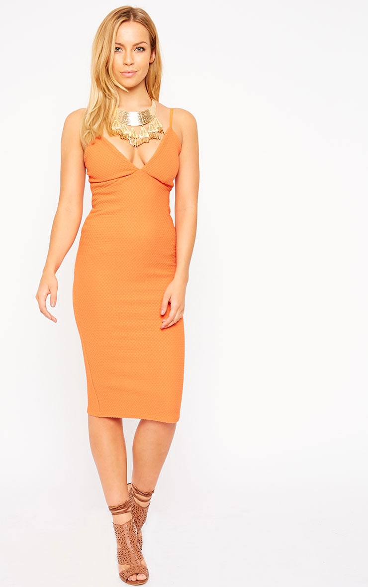 Celline Orange Plunge Neck Textured Midi Dress 3