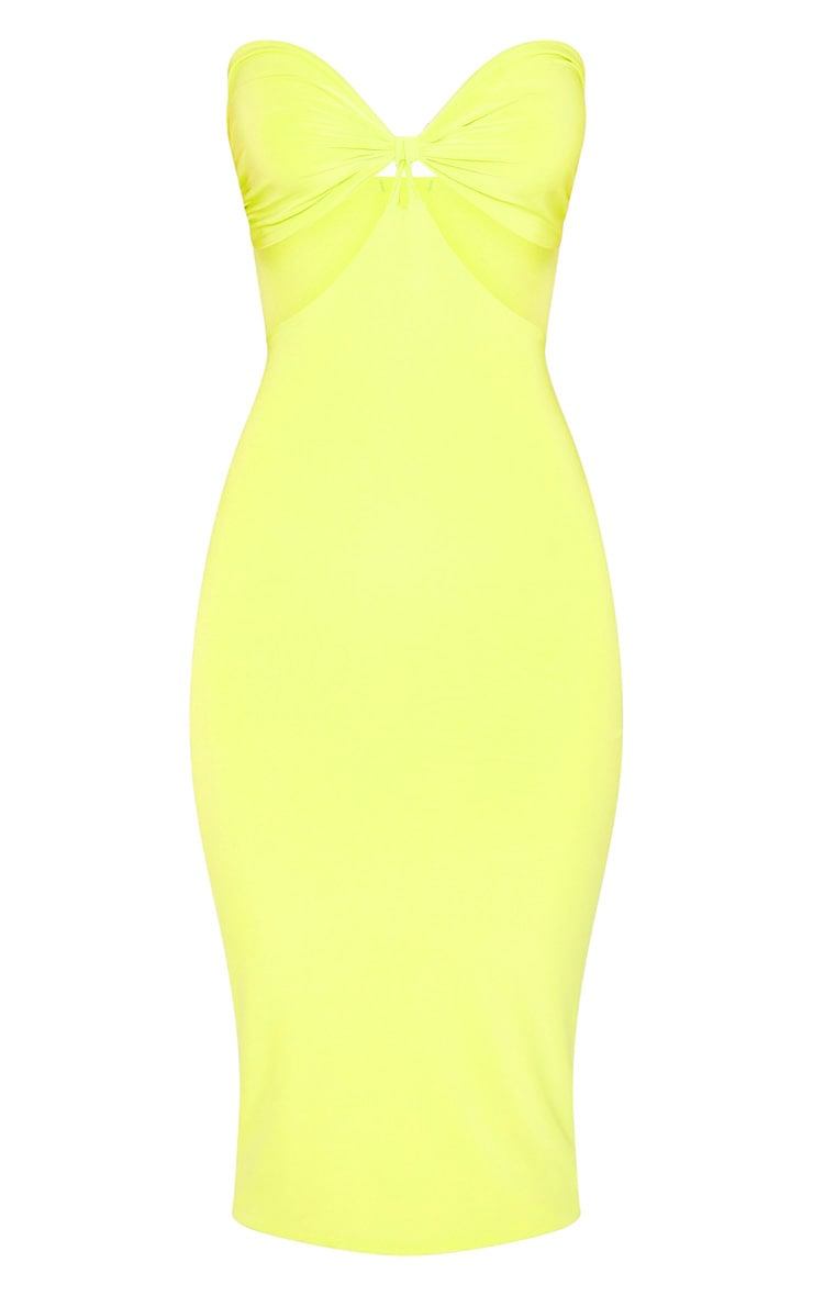Lime Slinky Bust Detail Cut Out Midi Dress 3