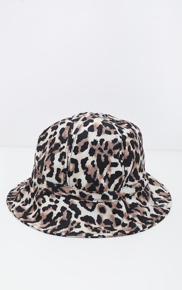 Tan Leopard Print Bucket Hat 2