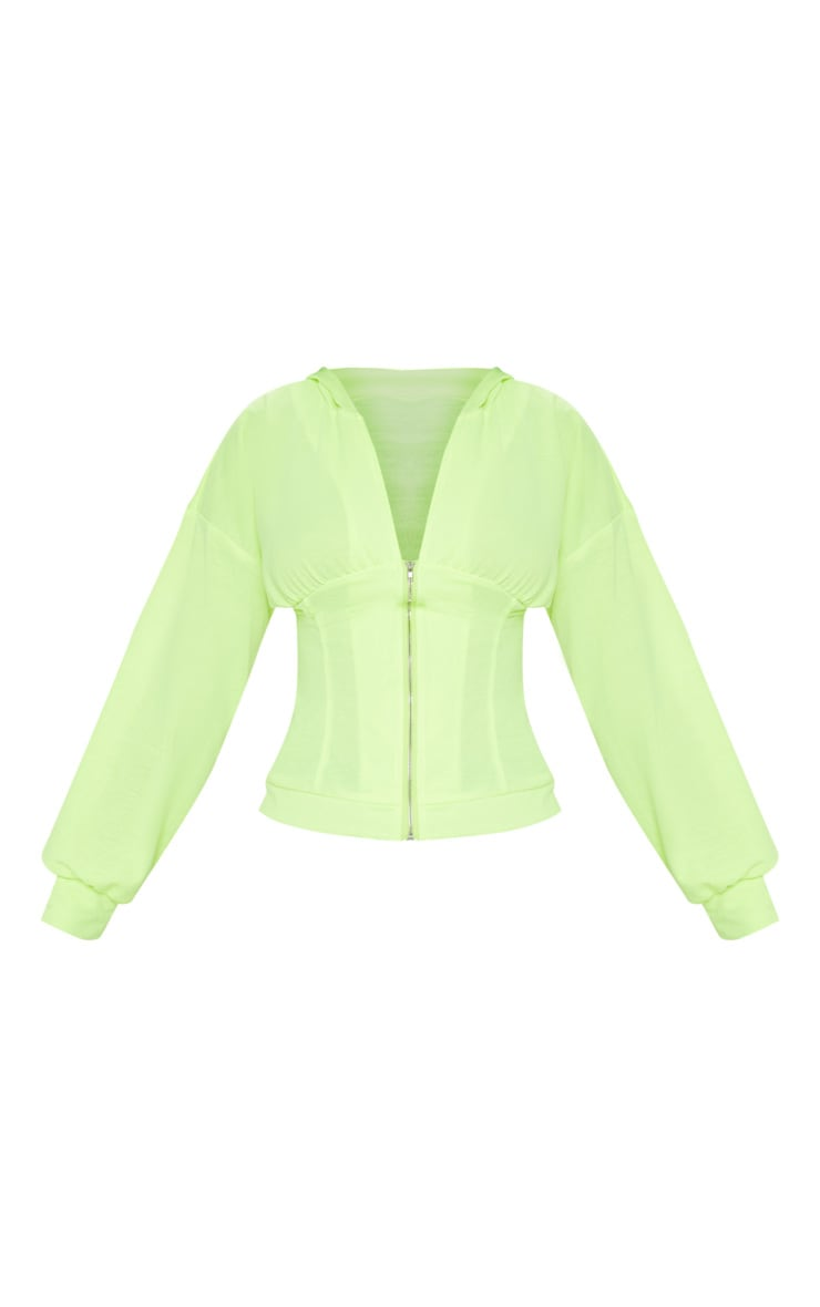 Neon Lime Ruched Zip Front Hoodie 3