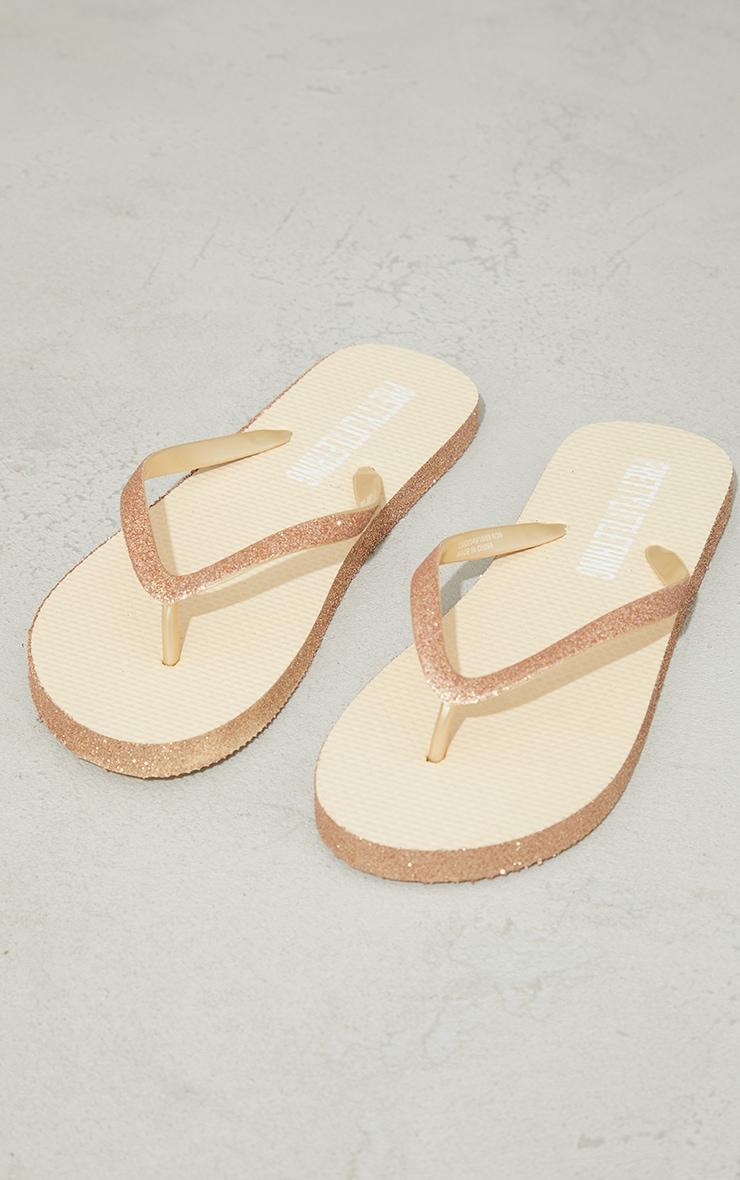 Gold Glitter Flip Flops 3