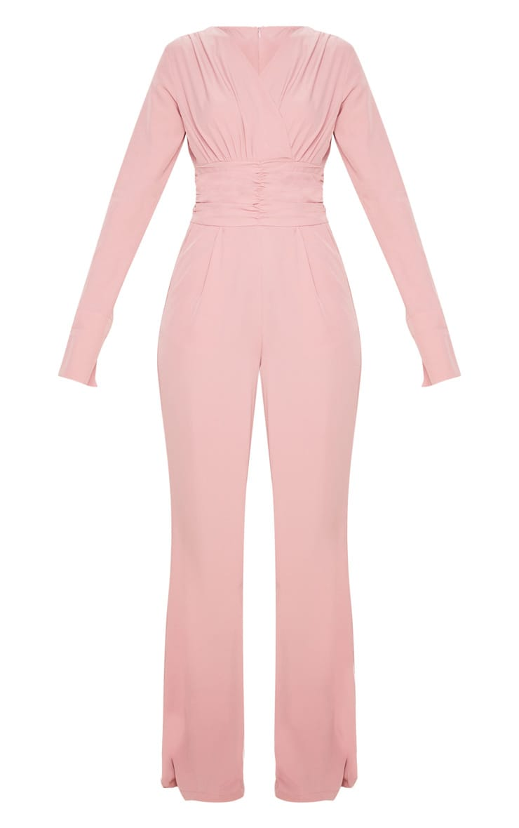 Dusty Pink Pleated Waist Plunge Jumpsuit 3