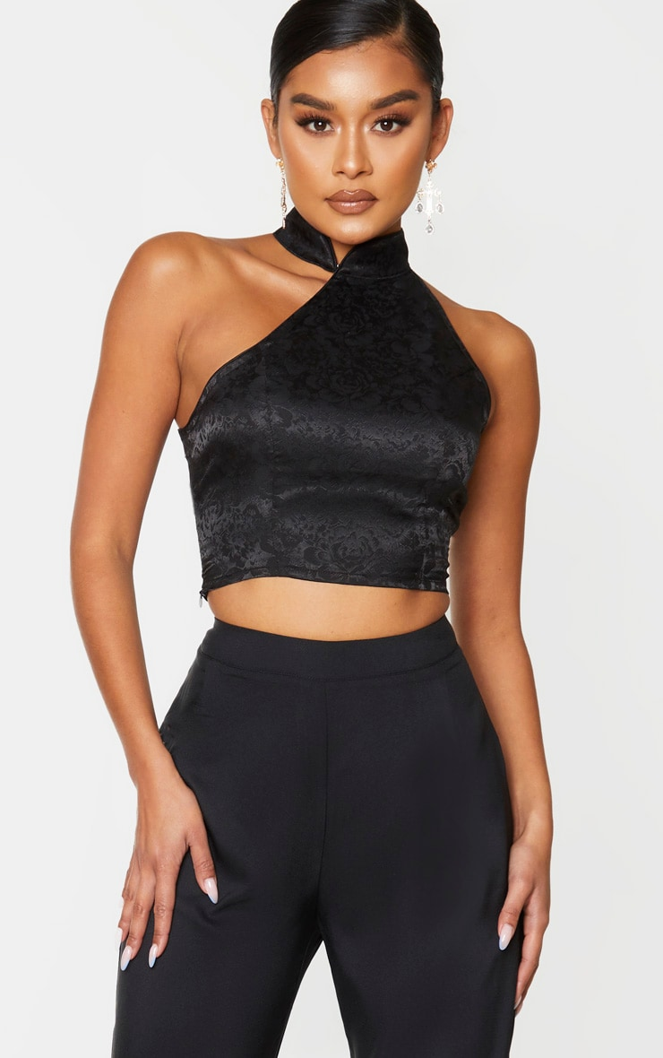 Black Satin Oriental High Neck Asymmetric Crop Top 1