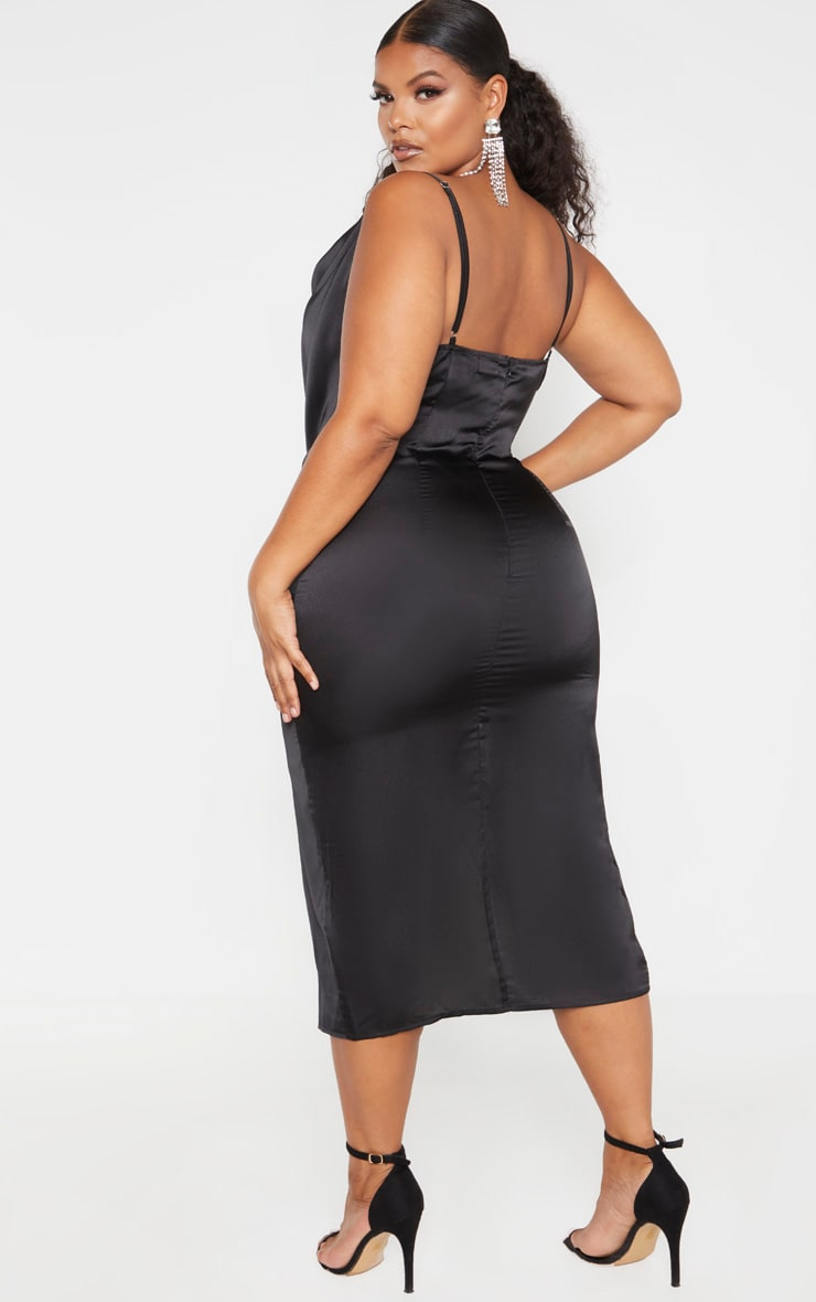 Plus Black Strappy Satin Cowl Midi Dress 2