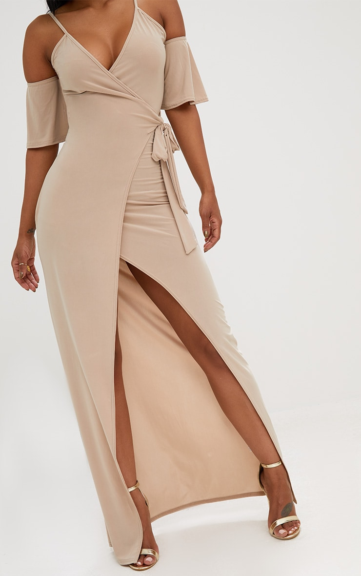 Shape Stone Slinky Wrap Front Maxi Dress 5