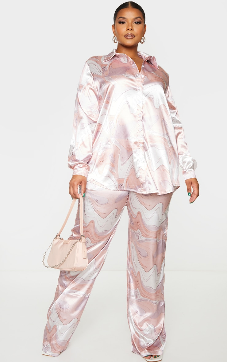 Plus Baby Pink Marble Print Oversized Shirt 3