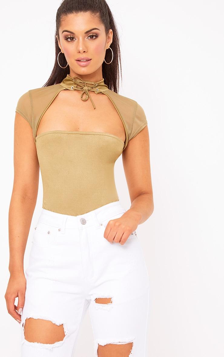 Khaki Slinky Mesh Choker Square Cut Thong Bodysuit 2