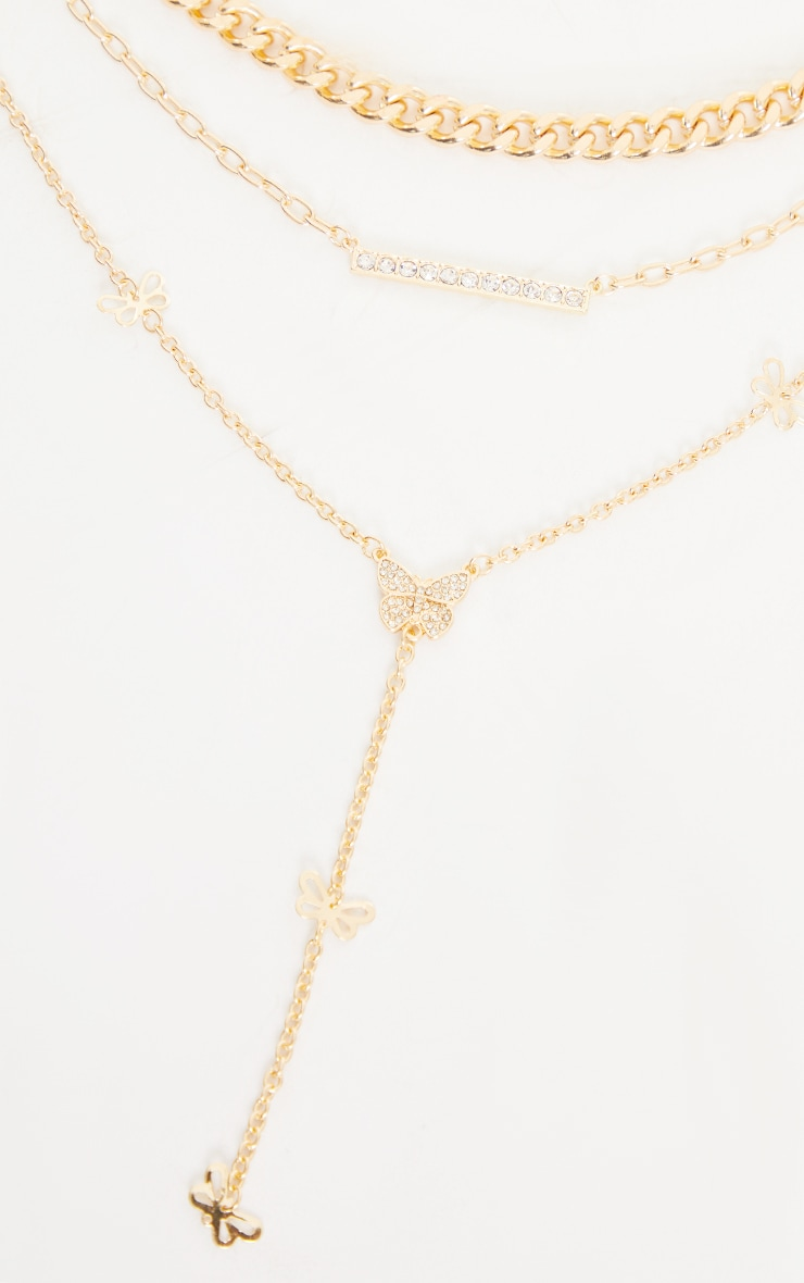 Gold Assorted Chain Pave Butterfly Tab Necklace 3