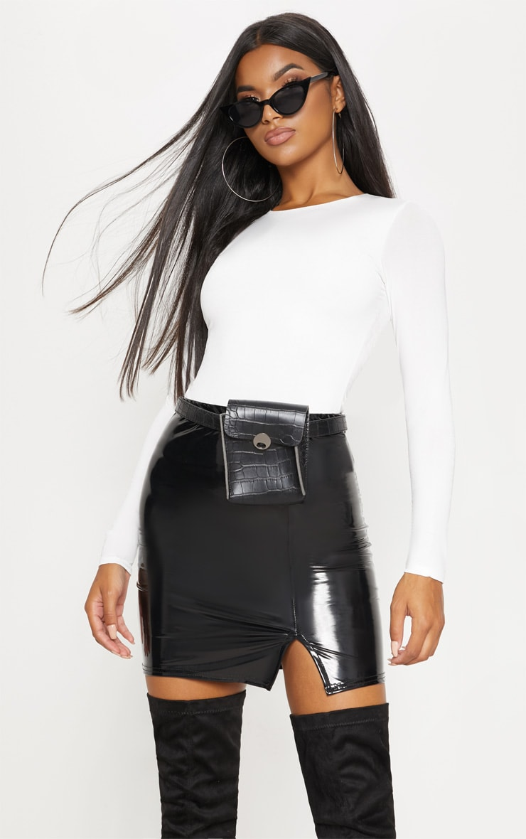 Black Vinyl Side Split Mini Skirt 1