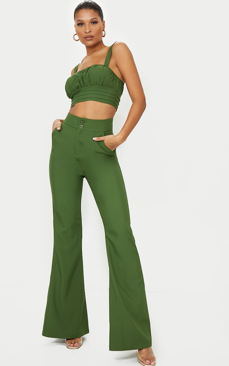 Olive Ruched Bust Detail Longline Crop Top 3