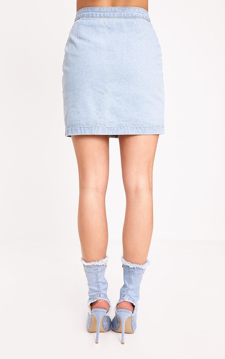 Cammie Light Wash Mini Skirt 4