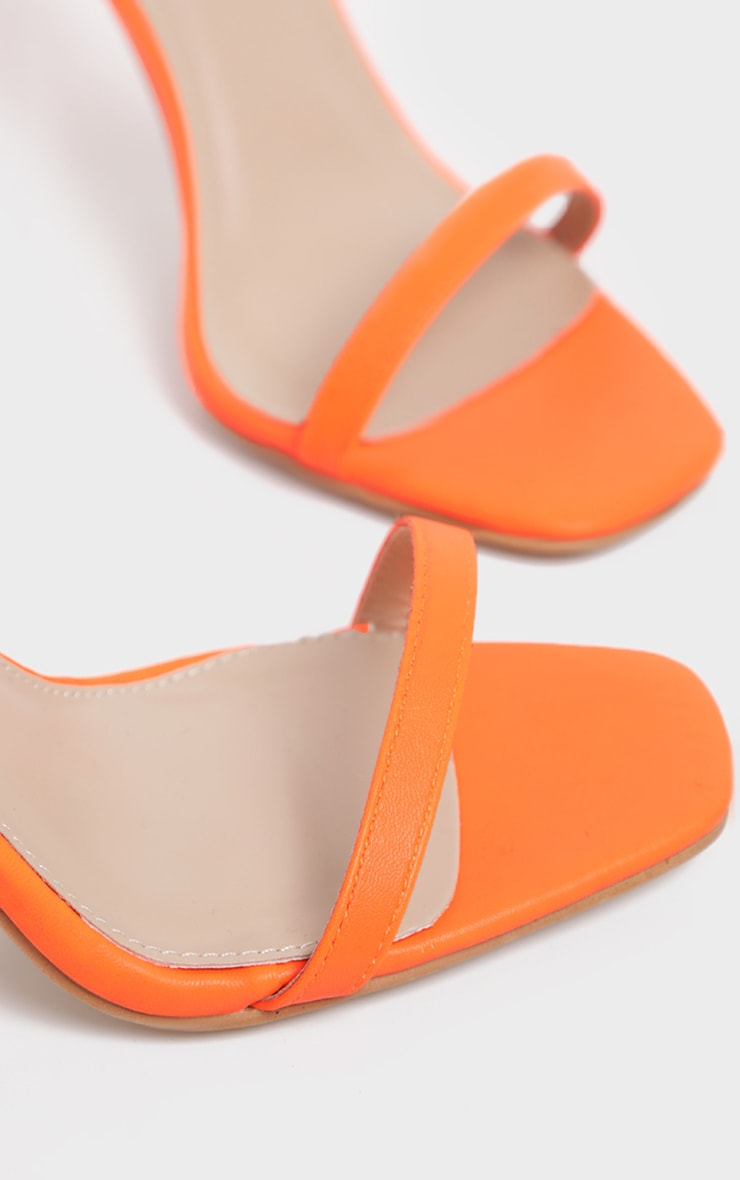 Neon Orange Thin Strap Square Toe Strappy Sandal 4