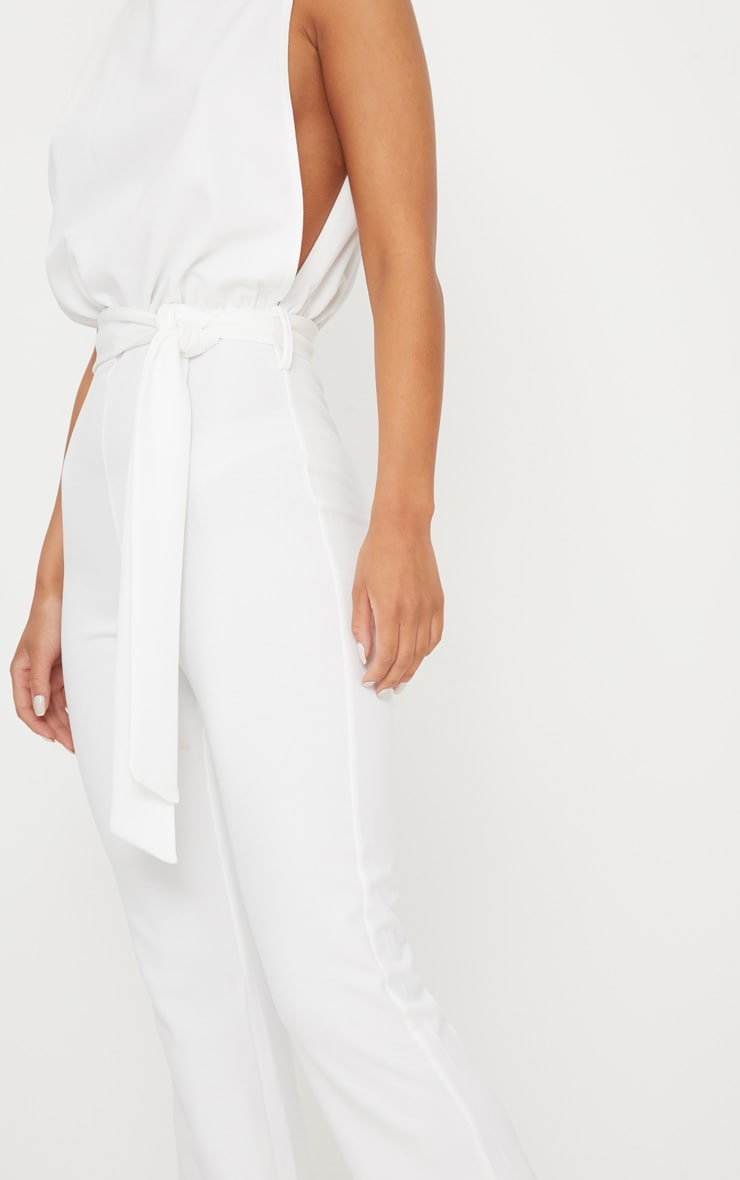 White Scuba High Neck Tie Waist Jumpsuit 4