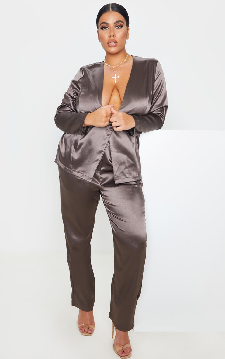 Plus Mocha Satin Pocket Detail Straight Leg Pants 1