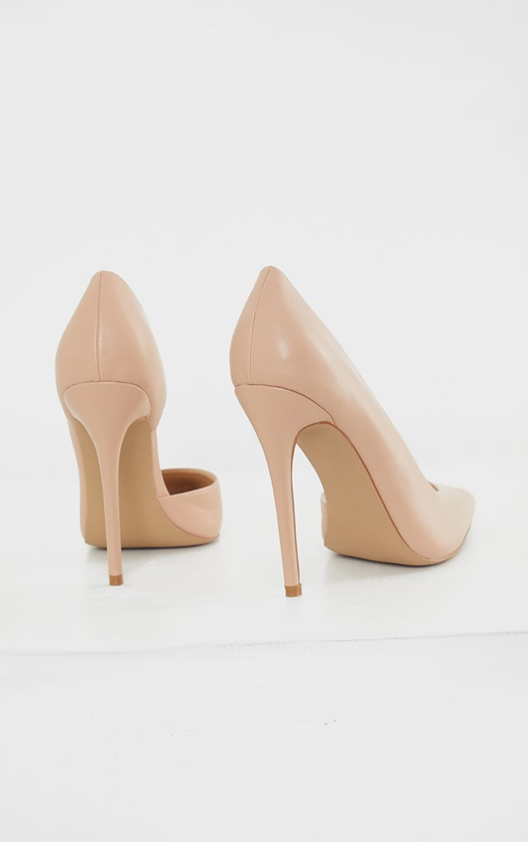 Nude Point Toe Cut Out Side Stiletto Court Shoes 4